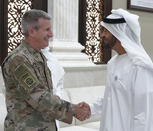 Abu Dhabi Crown Prince Receives US Commander in Afghanistan