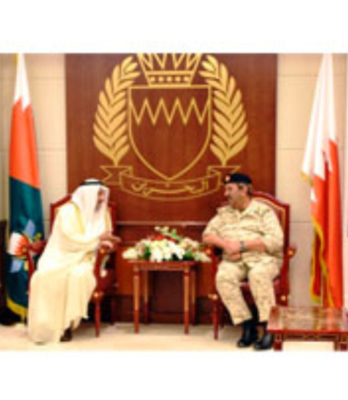 Commander-in-Chief of Bahrain Defence Force (BDF) Field Marshal Sheikh Khalifa bin Ahmed Al Khalifa received Kuwaiti Ambassador to Bahrain Sheikh Azzam bin Mubarak Al Sabah who was accompanied by outgoing Military Attaché at Kuwait's Embassy in Bahrain Major General Ali Suleiman Al Asaker.