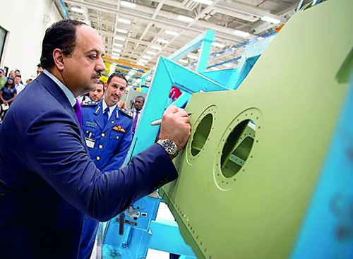 Qatar's Defense Minister Visits Boeing's F-15 Plant