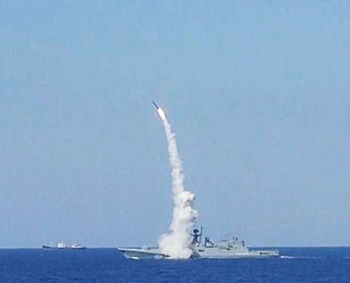 Russian Frigate Admiral Essen Conducts Drills in Mediterranean