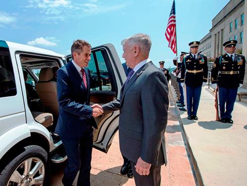 U.S. Defense Secretary Receives British Counterpart