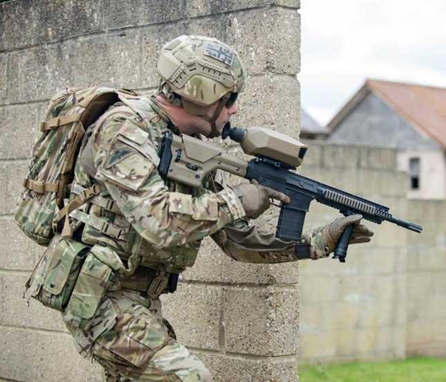 Future soldier in combat uniform