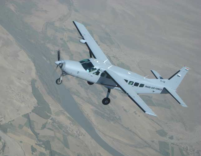 An Iraqi Air Force Cessna 208B Grand Caravan flies over Iraq on a training sortie.