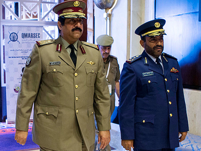 Major General Hamad bin Ali Al-Attiyah Minister of State for Defense Affairs (Left) and Staff Brigadier (Pilot) Mohammed A. AL-Mannai, Director, Qatar National Security Shield Project (Right)