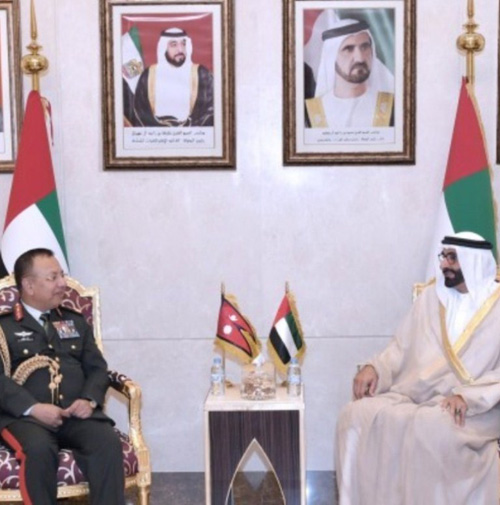 UAE Defense Minister Receives Nepalese Army Chief