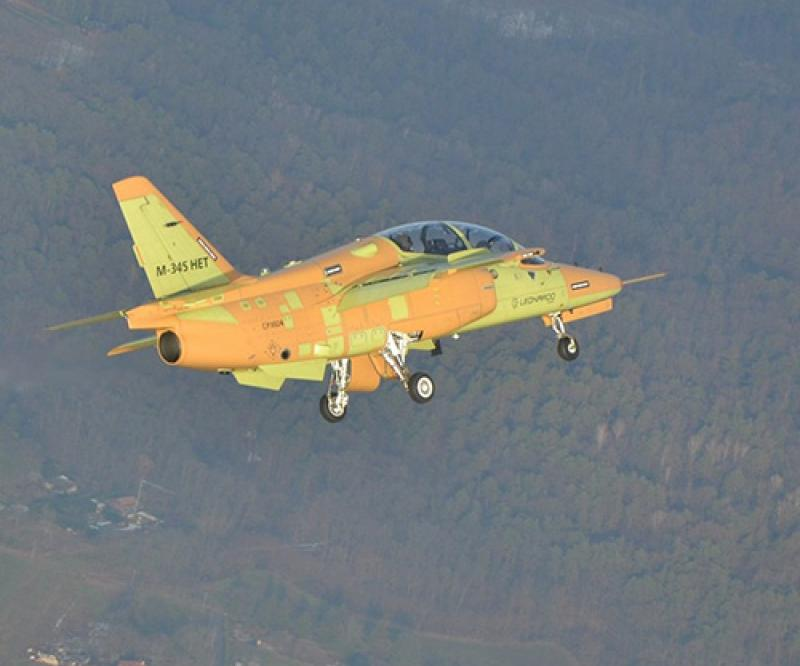 First M-345 Production Aircraft Performs Maiden Flight
