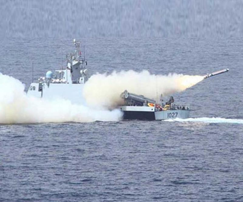 Pakistan's Navy Conducts Live Weapons Firing in North Arabian Sea