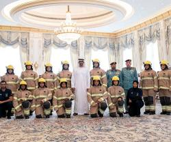 Abu Dhabi Crown Prince Receives First Emirati Women Firefighters