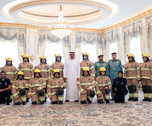 Abu Dhabi Crown Prince Receives First Emirati Women Firefighters