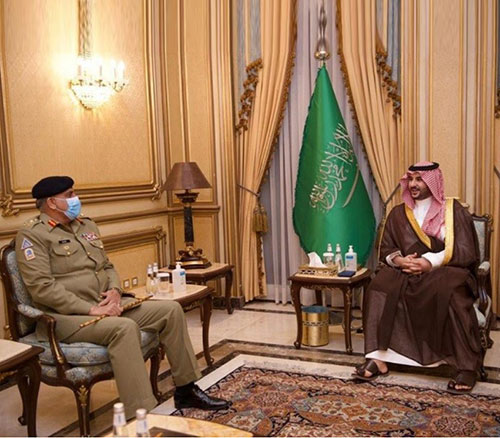 Saudi Deputy Minister of Defense Receives Chief of Pakistan Army Staff