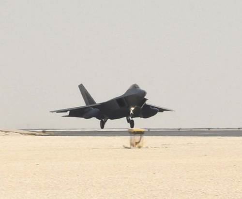 U S  Deploys F-22 Stealth Fighters to Al Udeid Air Base in