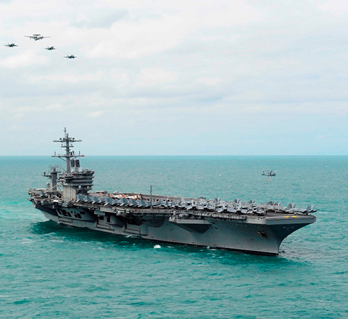 USS Theodore Roosevelt Aircraft Carrier Anchors in Dubai's Jebel Ali Port